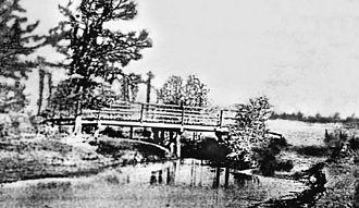 Katy, Texas - First bridge over Cane Island Creek, circa 1895