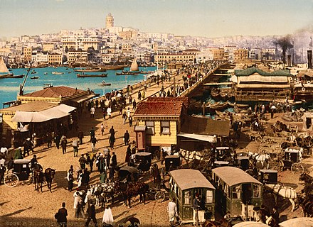 Galata Bridge in the 19th century Flickr - …trialsanderrors - Kara-Kevi (Galata) and view of Pera, Constantinople, Turkey, ca. 1895.jpg