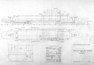 Flight deck cruiser - Preliminary design plan for the CF-2 type flight deck cruiser as envisioned in January 1940