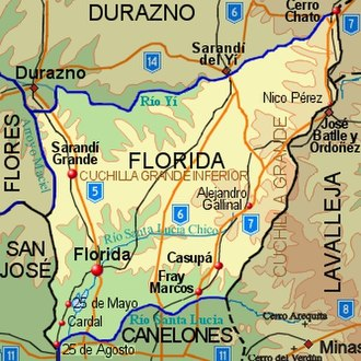 Florida Department - Topographic map of Florida Department showing main populated places and roads