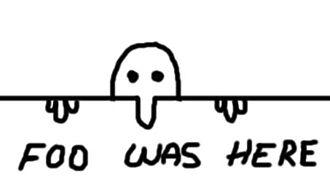 "Foo was here - ""Foo was here"" graffiti figure"