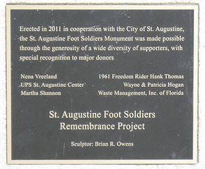 St. Augustine Foot Soldiers Monument - Image: Foot Soldier Donor Plaque