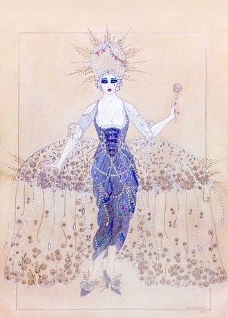 Natacha Rambova - Costume concept for Forbidden Fruit (1921), designed and drawn by Rambova
