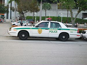 Miami-Dade Police Department - An MDPD Ford Crown Victoria Police Interceptor parked outside Hard Rock Stadium in the former livery.