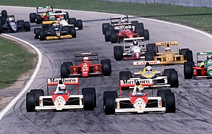 1989 FIA Formula One World Championship - McLaren-Honda won the Constructors' Championship in 1989 with the MP4/5 (the white-and-red cars nearest the camera).