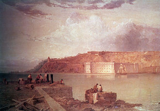 Fort Wadsworth - A view of Fort Wadsworth from across the Narrows by Seth Eastman, commissioned by the U.S. Army in 1870. Fort Richmond/Battery Weed is near the water, and Fort Tompkins is on the hill.