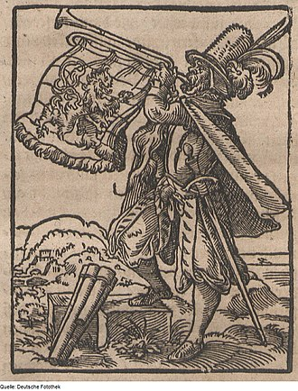 News - Woodcut by Tommaso Garzoni depicting a town crier with a trumpet