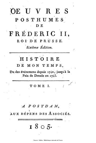 File:Frédéric II de Prusse - Histoire de mon temps, tome 1.djvu