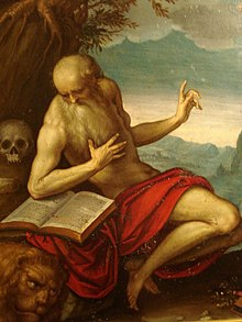Painting of Saint Jerome, reading a book