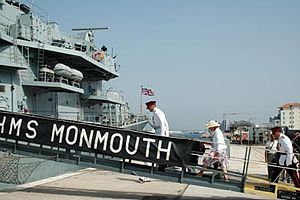 HMS Monmouth (F235) - Image: Francis Richards boarding HMS Monmouth
