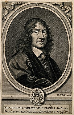 Franciscus Sylvius (Deleboe). Line engraving by R. White aft Wellcome V0005701.jpg