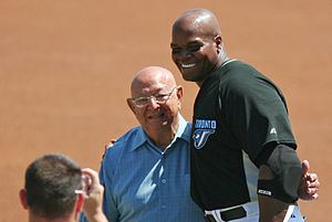 English: Frank Thomas and former trainer for b...
