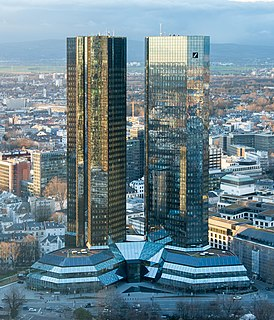 Deutsche Bank Twin Towers two highrises in Frankfurt, Germany