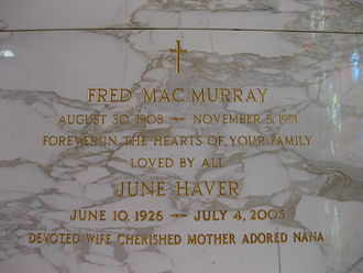 Fred MacMurray - MacMurray and wife June Haver's grave at Holy Cross Cemetery, Culver City, California