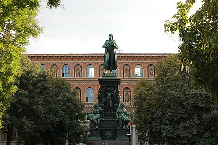 Statue of Friedrich Schiller in front of the Academy of Fine Arts Friedrich von Schiller.JPG