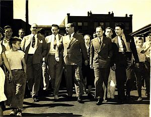 Fritz Julius Kuhn - Kuhn appearing on the street after leaving a courthouse in Webster, Massachusetts 1939