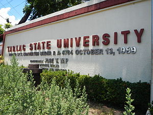 Tarlac State University - Tarlac College of Technology was converted to Tarlac State University by virtue of R.A. 6764 in 1989.