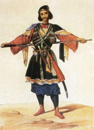 Georgian feudalism - A Georgian prince from Imereti (1850s). A painting by Grigory Gagarin
