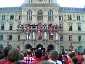 Grazer AK - GAK celebrates its Austrian Championship 2004 on Hauptplatz in Graz.