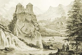 Racha - An old fortress in Racha in the 19th century.