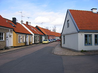 Landskrona - Street in the old part of the town near its centre.