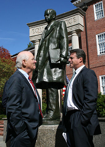 U.S. Senator Ben Cardin (left) and Maryland Attorney General Doug Gansler talk in Lawyers Mall, near a statue of Thurgood Marshall. (October 2007) Gansler and Cardin.jpg