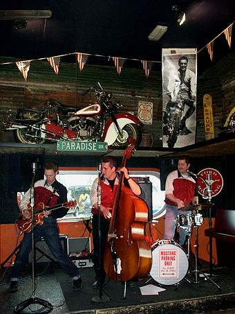 Gazzguzzlers use the classic instruments associated with rockabilly: a hollow-body guitar, and upright bass, and a pared-down drum kit. GazzguzzlersAtCaddysDiner.jpg