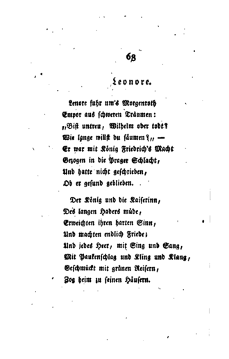 Lenore (ballad) - An 1817 edition of Lenore, published by Dieterichsche Buchhandlung