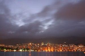 Gejiu - View of Gejiu and its lake at night