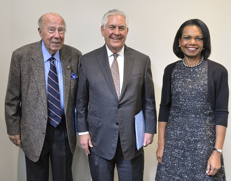 George P. Shultz with Rex Tillerson and Condoleezza Rice - 2018 (38854353365) (cropped)