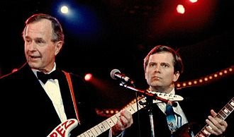 "Lee Atwater - Lee Atwater ""jams"" with President George H.W. Bush at Inaugural festivity, 21 January 1989."