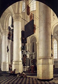Gerard Houckgeest - Interior of the Nieuwe Kerk, Delft, with the Tomb of William the Silent - WGA11749.jpg