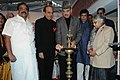 Ghulam Nabi Azad lighting the lamp at the launch of the National AIDS Control Organization's Red Ribbon Express Phase III, in New Delhi. The Union Minister for Railways, Shri Dinesh Trivedi, the Chief Minister of Delhi.jpg