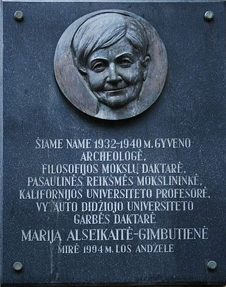 Marija Gimbutas - Marija Gimbutienė commemorative plaque in Kaunas, Mickevičius Street