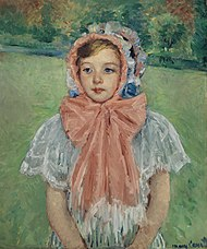 Mary Cassatt, Girl in a Bonnet Tied with a Large Pink Bow, 1909. Oil on canvas (68 x 57.2 cm). Private Collection.