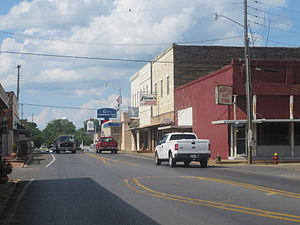 Farmerville, Louisiana - A look at downtown Farmerville across from the Union Parish Courthouse