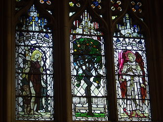 "Christopher Whall works in Gloucester Cathedral - The three-light window ""The Fall and Deprivation of Paradise."
