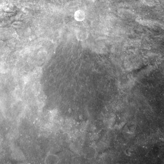 Goddard (crater) - Apollo 17 mapping camera image, with the small, bright Goddard A at top
