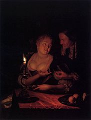 Gentleman Offering a Lady a Ring in a Candlelit Bedroom