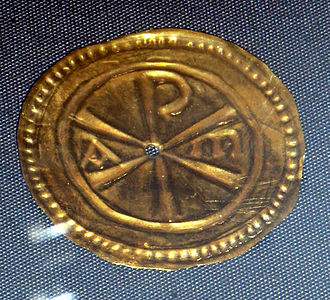 Christianity in Roman Britain - Votive plaque with Chi-Rho symbol from the Water Newton hoard
