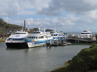 Golden Gate Ferry - Four of the system's ferries at Larkspur Landing