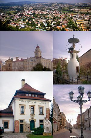 Gorlice - Top:Aerial view of Gorlice, 2nd left:Gorlice City Hall and City Square, 2nd right:A monument of the first time kerosene lamp set place, Bottom left:Sztuki Dwor Karwacjanow Gallery in Wroblewskiege, Bottom right:Three Maja Street
