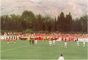 Mostar derby - Velež's fans at the derby