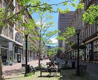 Pedestrian zone - Seating in a pedestrian-only street in Halifax, Nova Scotia, Canada