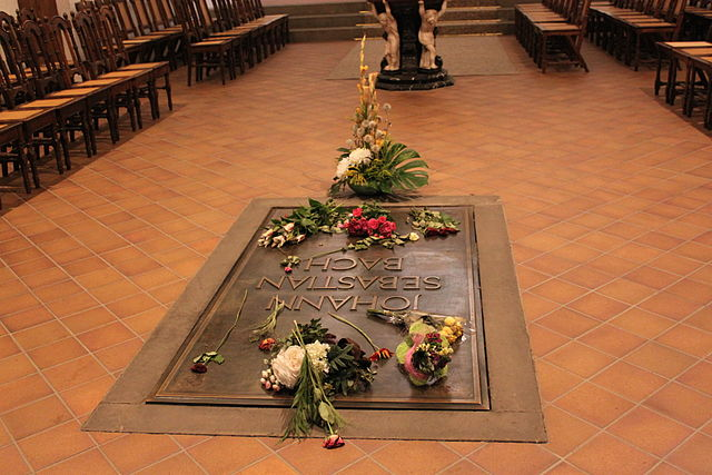 Могила Иоганна Себастьяна Баха в церкви Святого Фомы, Лейпциг, Германия. 9 августа 2011года.