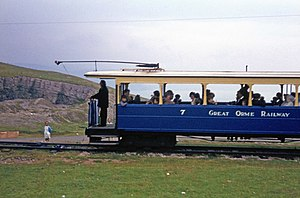 Great Orme Tramway - Tram 7 in 1968, carrying the Great Orme Railway livery and name of that time