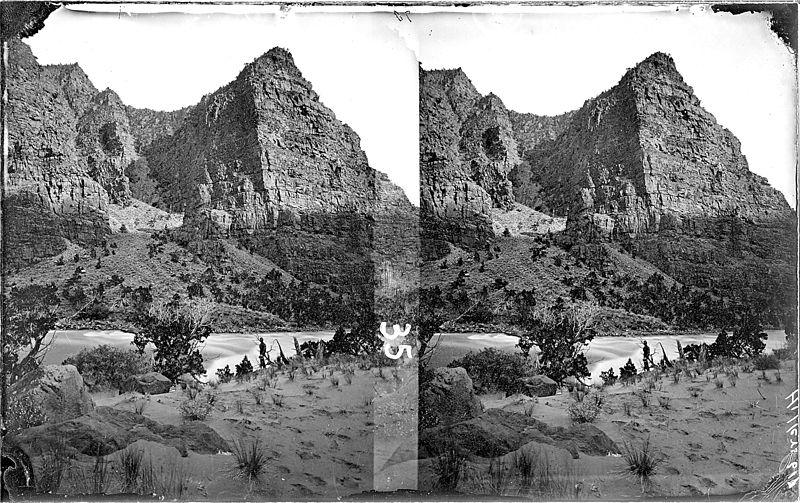 File:Green River. Canyon of Lodore, Disaster Falls. Beaman photo, 1871. Old nos. 321, 617, 386. An unidentified man is... - NARA - 517875.jpg