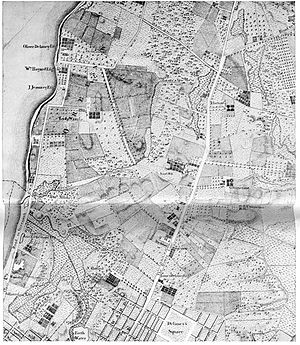 "Minetta Creek - On a section of Bernard Ratzer's map of New York and its suburbs, made circa 1766, Minetta Creek is labeled ""Bestavaer's Rivulet"" and may be seen in high resolution, exiting into the Hudson River on the left edge about halfway up in the area labeled, ""Abe Mortier Est.,"", below Lady Warren's estate"