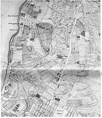 """Minetta Creek - On a section of Bernard Ratzer's map of New York and its suburbs, made circa 1766, Minetta Creek is labeled """"Bestavaer's Rivulet"""" and may be seen in high resolution, exiting into the Hudson River on the left edge about halfway up in the area labeled, """"Abe Mortier Est.,"""", below Lady Warren's estate"""