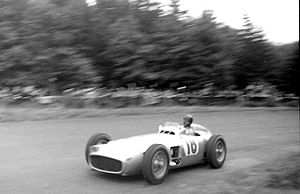 Mercedes-Benz in Formula One - Juan Manuel Fangio at the wheel of the W196 at the Nürburgring during the 1954 German Grand Prix